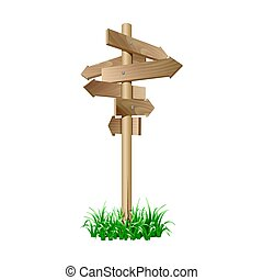 Multidirectional wooden road signpost with arrows