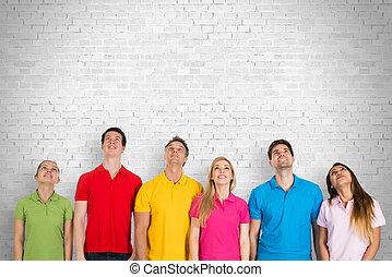 multiethnic の グループ, の, 人々, 調べること