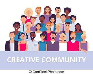 multiethnic, オフィスの人々, 労働者, group., イラスト, ベクトル, 共同体, 肖像画, チーム, 多様, 成人