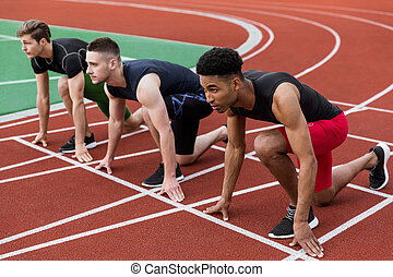 multiethnic, athlet, gruppe