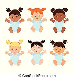 Multiethnic baby girls set. - Multiethnic or multinational...