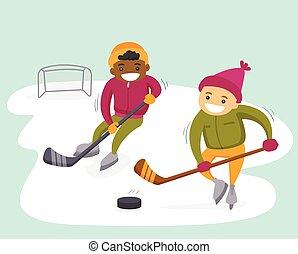 Multiethnic boys playing hockey on outdoor rink.