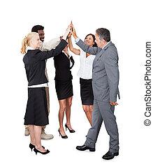 multiethnic, business, sur, équipe, fond, mains, blanc, joindre