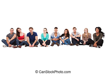 Multiethnic College Students Sitting In A Row