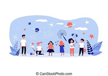 multiethnic, desenho, creions, grupo, crianças