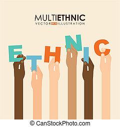 Multiethnic design over beige background, vector ...