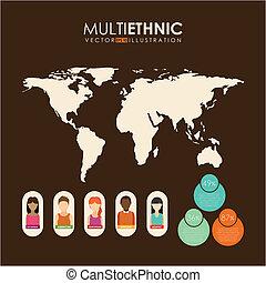 Multiethnic design over brown background, vector ...