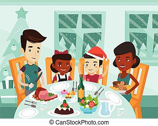 Multiethnic family celebrating Christmas day. - Happy...