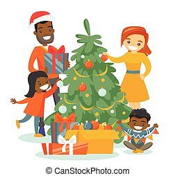 Multiethnic family decorating the Christmas tree.