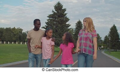 Multiethnic family holding hands walking outdoors - ...