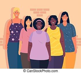 multiethnic groepering, concept, vrouwen, samen, ...