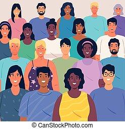 multiethnic, groot, groep, mensen, concept, samen, ...
