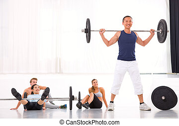 Multiethnic group of people in gym