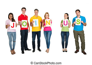 Group Of Friends Holding Letters Together Forming Word Join Us Over White Background