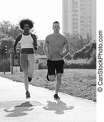 multiethnic group of people on the jogging