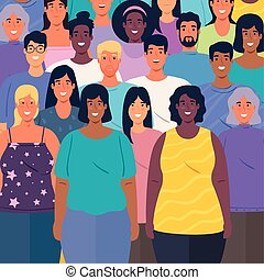 multiethnic group of people together background vector ...