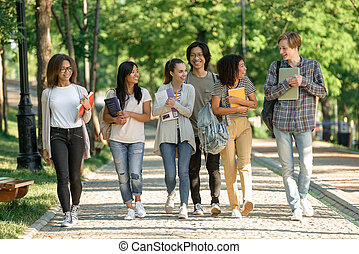 Multiethnic group of young cheerful students walking