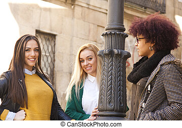 multiethnic group of young women