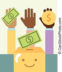 multiethnic hands with money and cartoon box charity