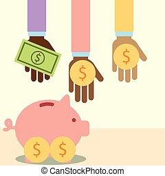 multiethnic hands with money piggy donate charity vector...