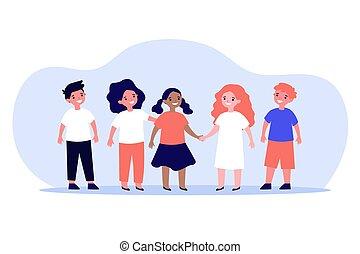 multiethnic, internazionale, concetto, compagni classe, amicizia, o