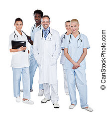 multiethnic, medyczny zaprzęg, stanie na drugą, białe tło