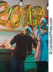 multiethnic men drinking champagne - portrait of multiethnic...