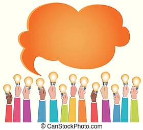 Multiethnic people who communicate online via web. Sharing ideas. Hands with light bulbs. Communication and discussion community social network. Connection diversity groups of people or friends
