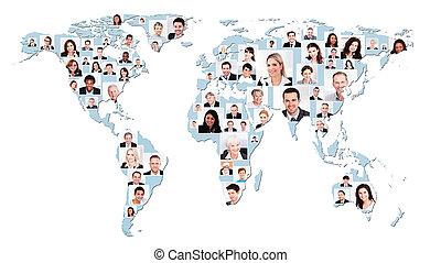 multiethnic, pessoas negócio, ligado, mapa mundial