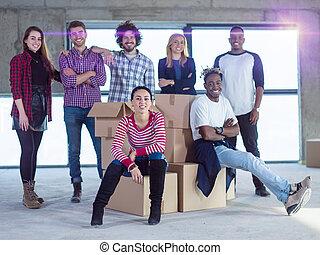 multiethnic, professionnels, site, construction, portrait