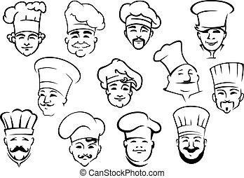 Multiethnic sketches of chefs characters in toques