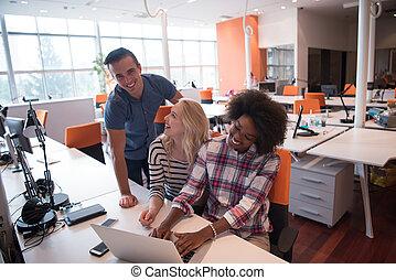 Multiethnic startup business team