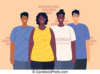 multiethnic together, diversity and multiculturalism concept...