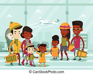 Multiethnic tourists meeting at the airport.