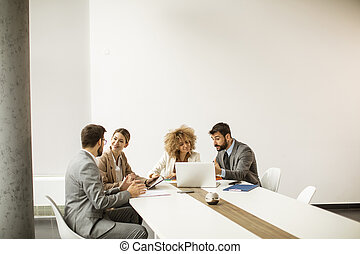 Multiethnic young business people working together in the office