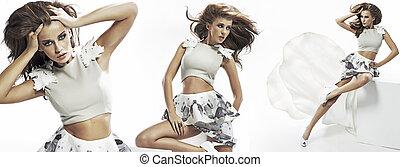 multiexposition, av, brunett, söt, kvinna