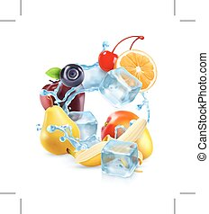 Multifruit with ice cubes and water splash, icon, isolated...