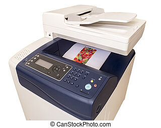 Multifunction color printer, isolated on white background