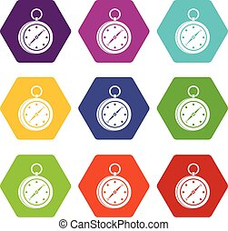 Multifunction knife icon set color hexahedron -...
