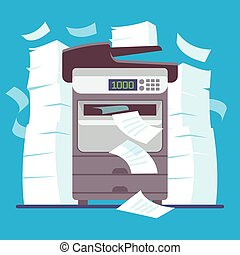 Multifunction office printer, computer scanner printing and copying paper documents cartoon vector illustration. Printer office, scanner machine, digital device photocopier