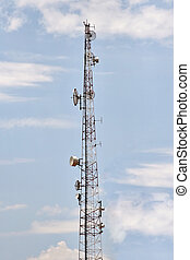 multifunctional antenna against the blue sky