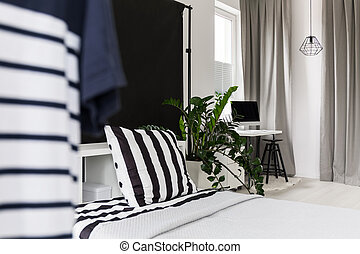 Multifunctional black and white interior