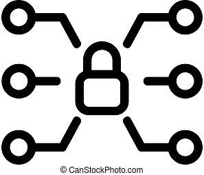 multifunctional, contorno, cerradura, aislado, ilustración, símbolo, vector., icono