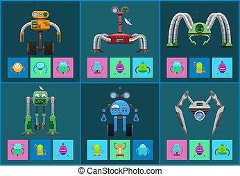 multifunctional, detectores, conjunto, moderno, robotes