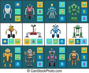 multifunctional, moderno, humanoide, robotes, sistema