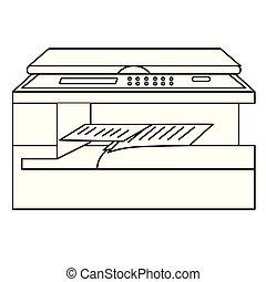 multifunctional, plano, blanco, impresora, ilustración