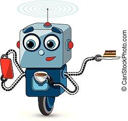 multifunctional, robot, ilustración, acción