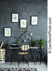 Multifunctional room with desk and plants decorations