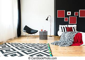 Multifunctional spacious studio in modern geometric style