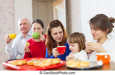 family drinks tea at home